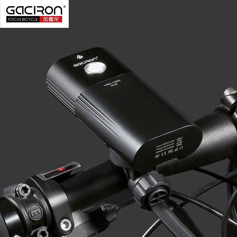 GACIRON 1600 люмен велосипедный светильник MTB головной светильник внешний аккумулятор водонепроницаемый USB Перезаряжаемый светильник для шоссе... - 4