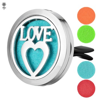 Aroma Essential Oil Diffuser Locket Love 30mm Stainless Steel with 5 Easy-Switch Oil Pads VA-487 image