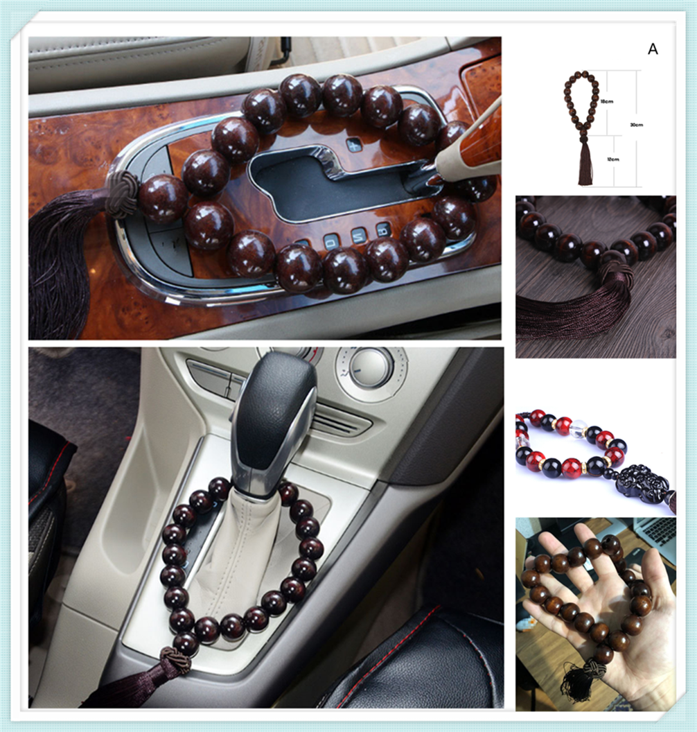 Car large black wood stall beads bead interior jewelry ornaments for BMW 335is Scooter Gran 760Li 320d 135i E36 F30 F30 image