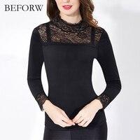 BEFORW Women Blouse Lace Stitching Sexy Blusas Keep Warm Plus Velvet Long Sleeve Blouse Plus Size