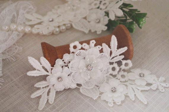 Pcs off white lace applique d heavy bead lace applique with