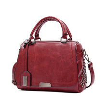 цены Rivet women's genuine leather fashion handbag motorcycle bag rivet all-match handbag Sheepskin shoulder cross-body Satch big bag