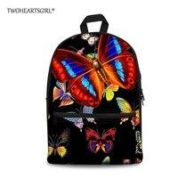 TWOHEARTSGIRL Black Printing Butterfly School Bag For Kids Elementary Canvas Schoolbag For Children High Teenager Girls