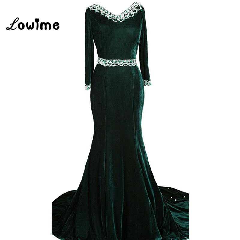 Plus Size Velvet Evening Dress Formal Women Party Gown Mermaid Long Sleeves  With Bedaed Crystals ...
