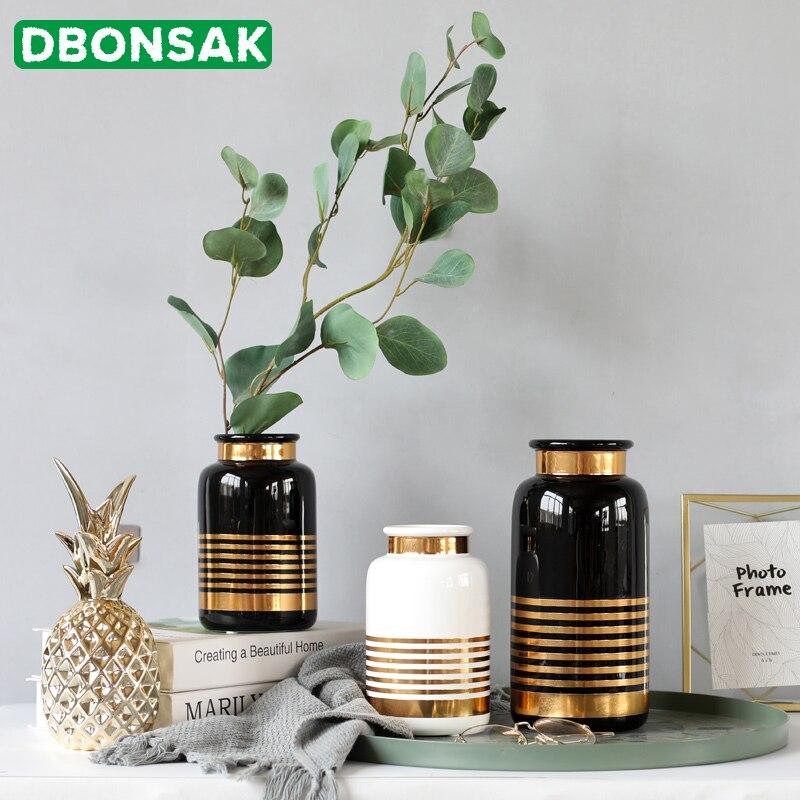 1pc Black White Ceramic Flower Vase Hot Stamping Ceramics Floral Hydroponic Plant Pot Living Room Arrangement