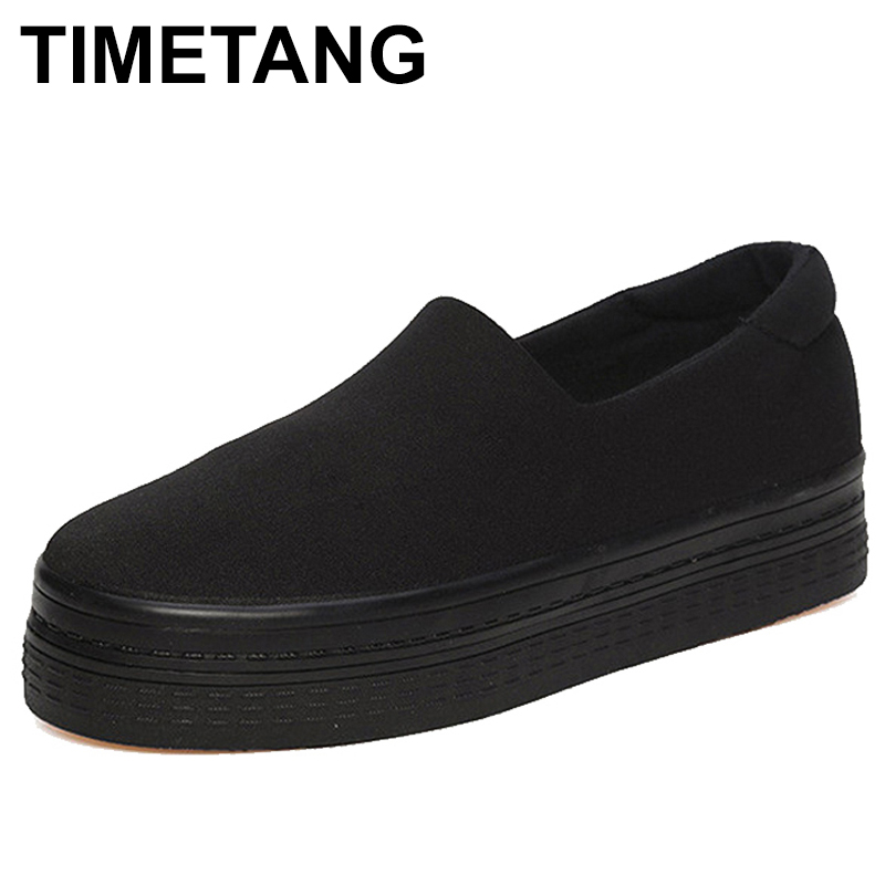 TIMETANG breathable flats women shoes 2018 Summer Solid Canvas Platform Shoes Red Black Women Shoes Chaussure Femme creepersC180