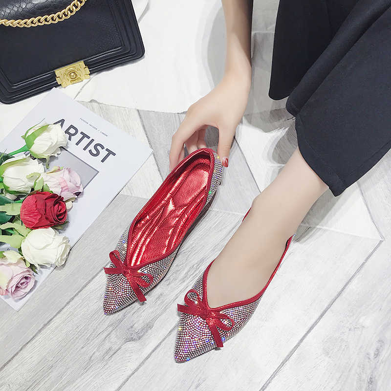 605b561562 Spring Summer Glitter Women Flats Pointed Toe Slip on Flat Shoes Bling  Ballet Flats Bow Ladies Shoes Woman Zapatos mujer 6857