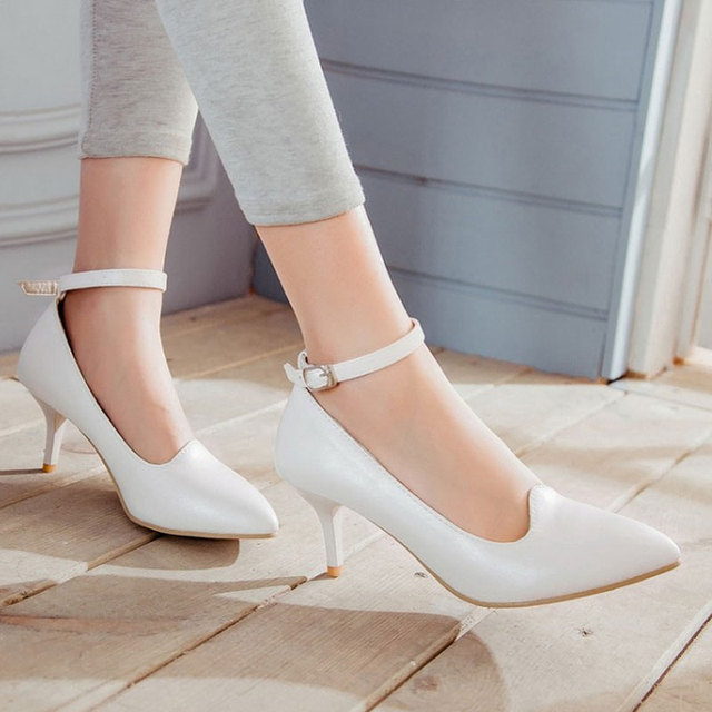 Women Shoes High Heels shoes Buckle White Pink wedding shoes woman pumps sy-2064
