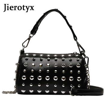 цена на JIEROTYX Fashion Rivets PU Leather Women Bags High Quality Handbags Designer Shoulder Bag Small Chain Crossbody Messenger Bags