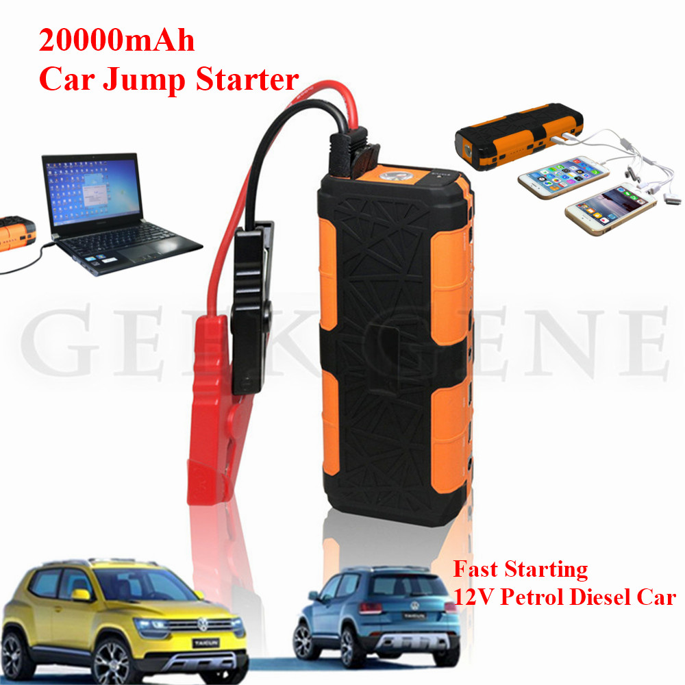 Car Jump Starter 20000mAh Portable Starting Device Lighter Power Bank 12V Car Charger For Car Battery Booster Diesel Car Starter multi function car jump starter for 12v diesel petrol car battery booster charger portable 400a starting devcie power bank led