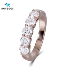 DovEggs Classic 14K 585 Rose Gold 1.25ctw 4mm FG Color Moissanite Engagement Rings For Women Wedding Bands Fine Jewelry недорого
