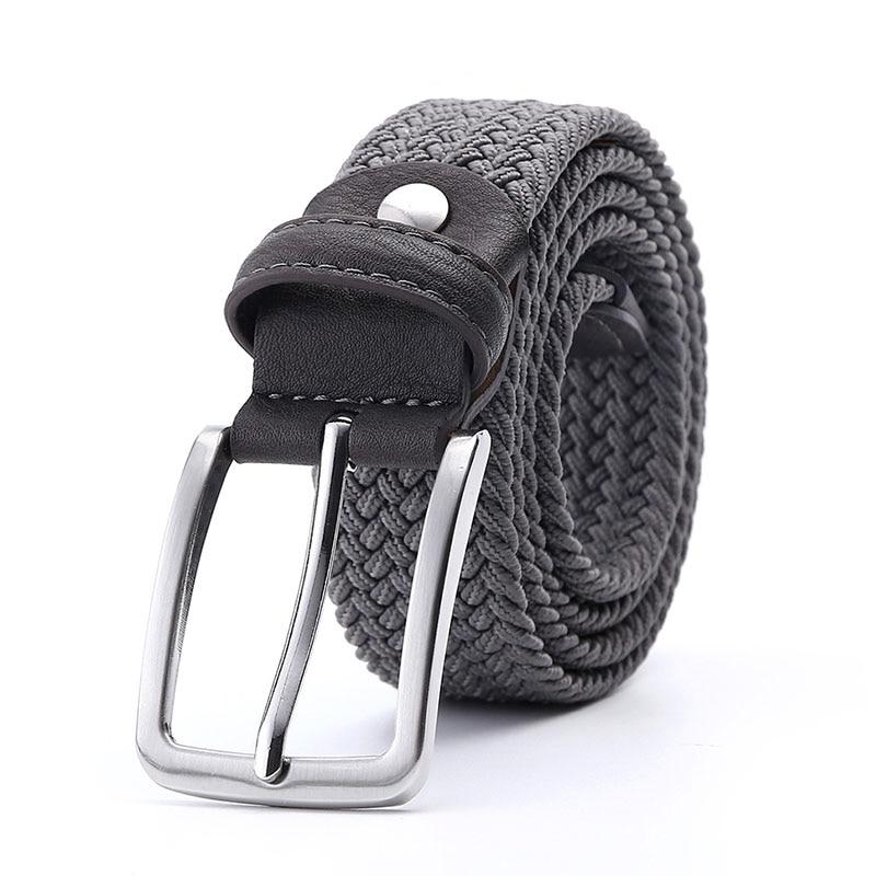 Men Women Belt Canvas Fabric Woven Braided Black Stretch Silver Metal Buckle