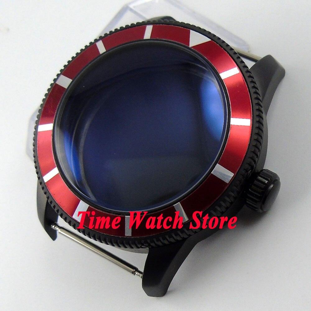 46 millimetri cassa in acciaio rosso lunetta PVD nero rivestito 316L fit ETA 2836 movimento C9646 millimetri cassa in acciaio rosso lunetta PVD nero rivestito 316L fit ETA 2836 movimento C96