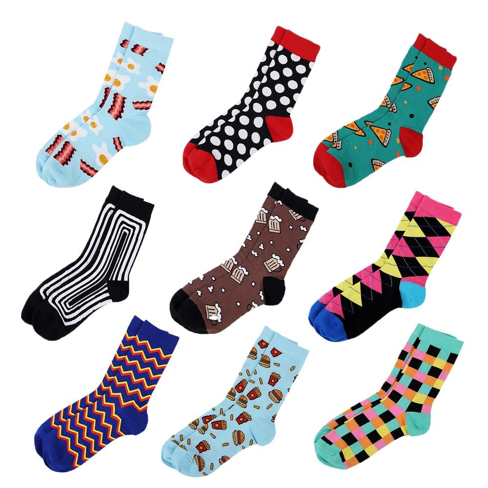 21 Color Combed Cotton Food Animal Stripe Dots Men Socks Dress Business Harajuku Sock