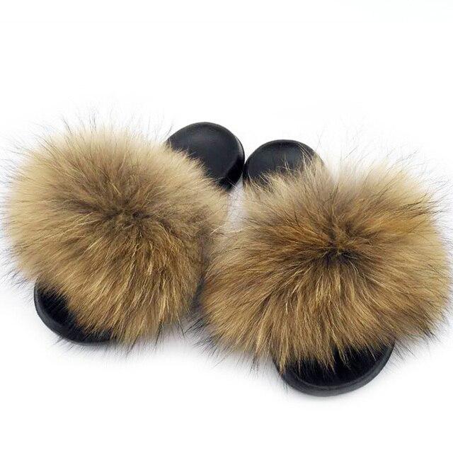 Women Summer Real Fox Fur Slides Women Non-slip Fluffy Fur Slippers Women Furry Slippers Ladies Cute Plush Fox Hair Slippers Hot 2