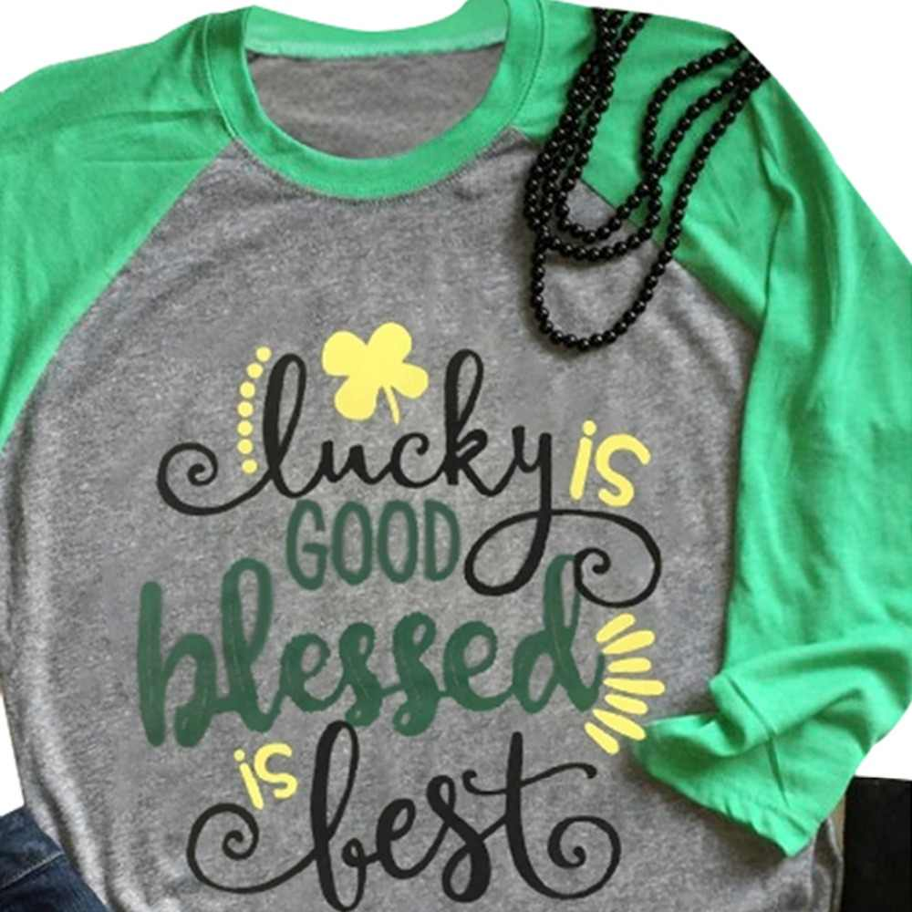 e8294821 ST Patricks Day Shirts Women Lucky Four-Leave Clover Fashion Cute T Shirt  Female Shamrocks