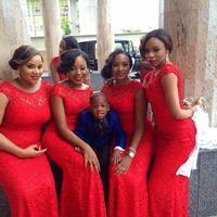 Plus Size Red Lace Long Bridesmaid Dresses mermaid Scoop Neck cap sleeve Zipper Floor Length Formal Dresses Women Dress 2015