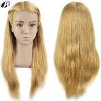 Мастер 20 дюймов Парикмахерские кукла головы женщина парикмахерских манекен головы 100 человеческих волос Учебные головы манекены с плеча па