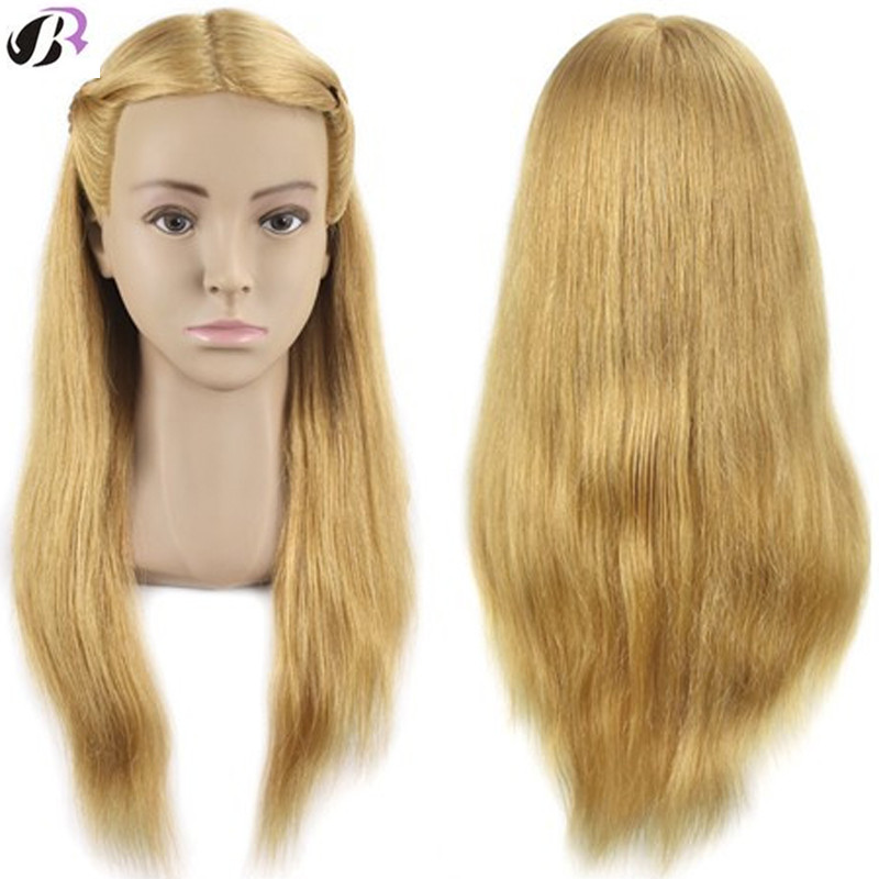 Master 20Inch Hairdressing Doll Head Female Hairdressing Mannequin Head 100 Human Hair Training Head With Shoulder Wig Head Sale graceful short side bang fluffy natural wavy capless human hair wig for women
