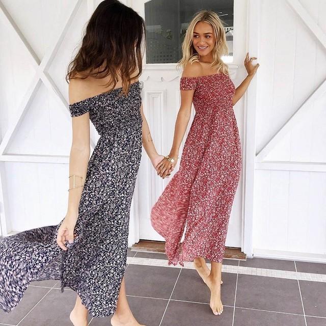 Bohemian Women Summer Dress 2019 Red blue Floral Boho Dresses Off Shoulder Long Beach Vestidos Sexy Sundress Casual Maxi Dress