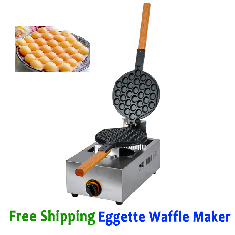 Free Shipping Eggette Waffle Machine Egg Puff Baker Kitchen Appliance Gas Type free shipping gas type 16 hole layer cake machine pattern in bottom waffle machine