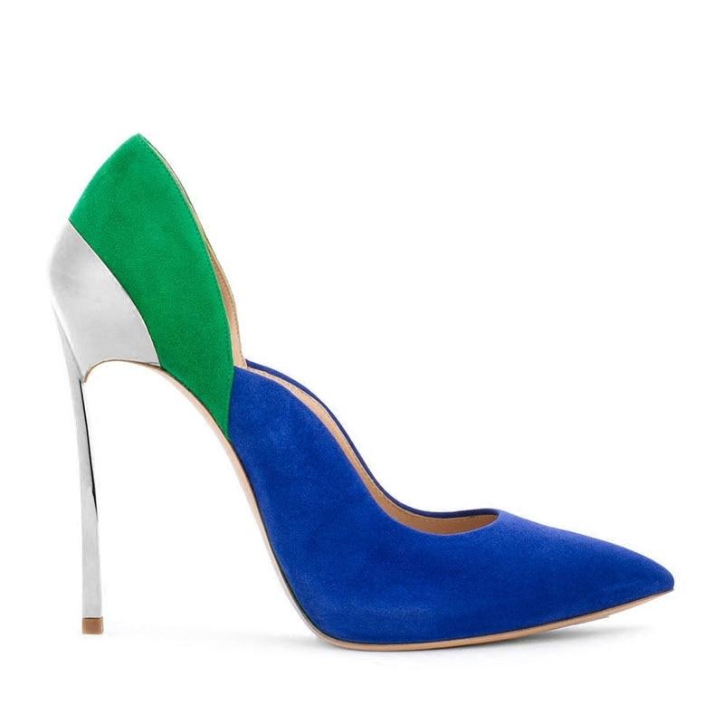 Bildals Ausschnitt Kleid als Weibliche Schuhe Bild Silber Frauen Metallic Heels Spitz on Mischfarben Slip Pumps Tops Sexy Klinge CrdhQts