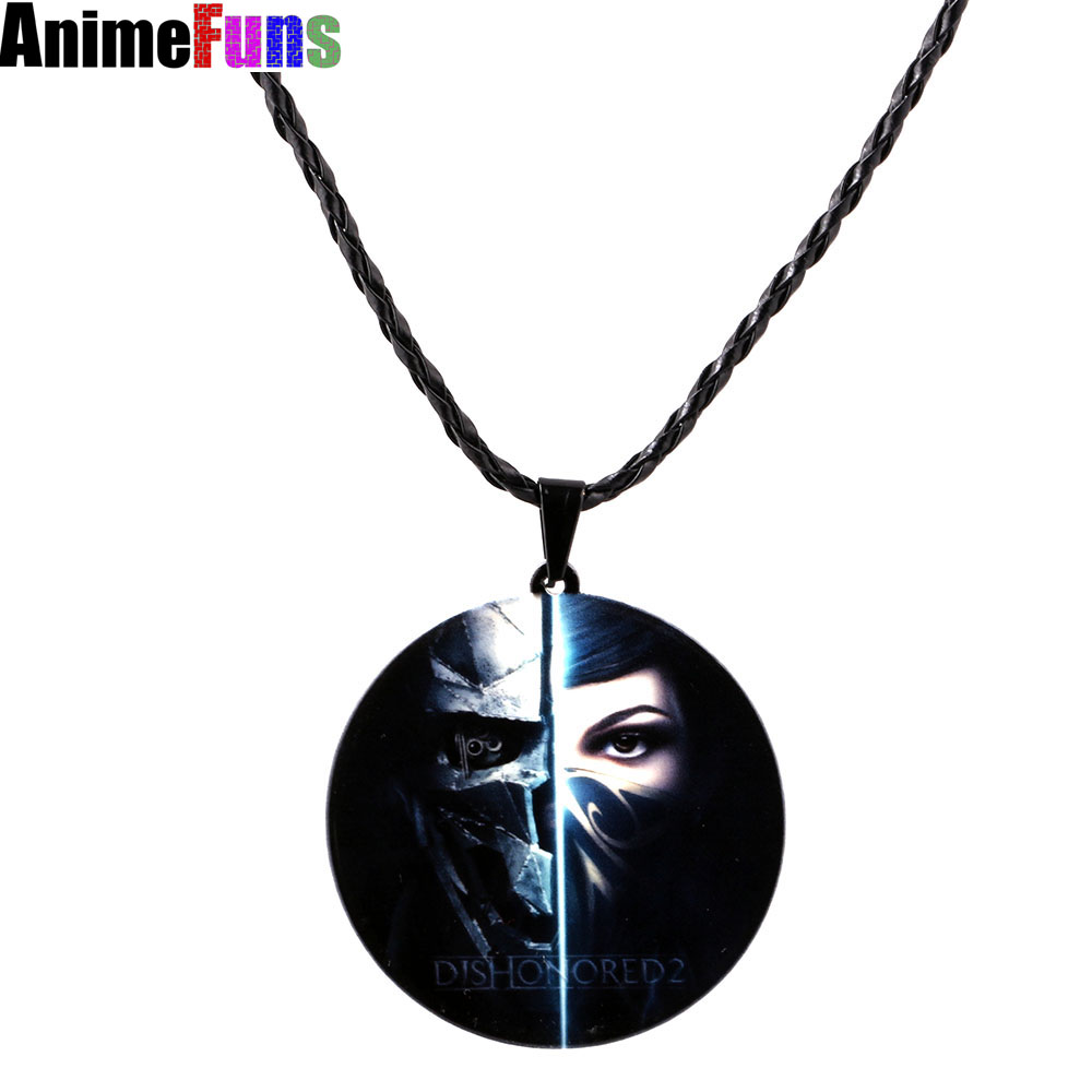 50pcs/pack Game Dishonored 2 Logo Choker Necklace Letter Round Pendant for women man Charm Jewelry Souvenir Gift drop-shipping50pcs/pack Game Dishonored 2 Logo Choker Necklace Letter Round Pendant for women man Charm Jewelry Souvenir Gift drop-shipping