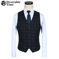 Desirable Time Brand Formal Wedding Vest Men M 5XL Fashion Slim Fit Blue Plaid Men Dress