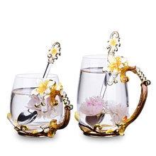 Эмалированная стеклянная чашка розовый/желтый цветок лилии ручка