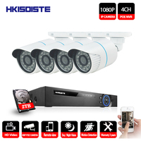 HKIXDISTE 4CH 1080P POE NVR CCTV System Camera Kit 2.0MP Outdoor Waterproof Security IP Camera P2P Video Surveillance System Set