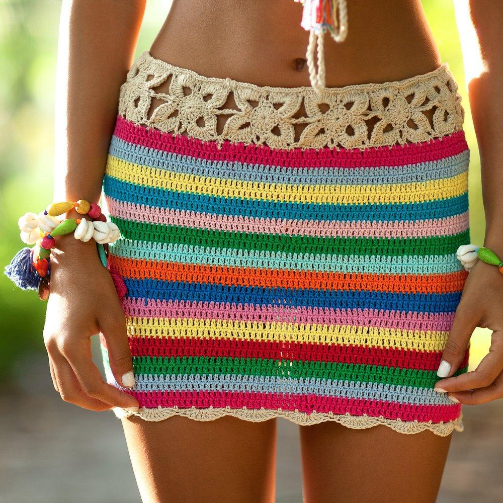 Colorful Crochet Skirt 2018 Women Summer Beach Bikini Swim Bathing Suit Cover Up Beachwear ...