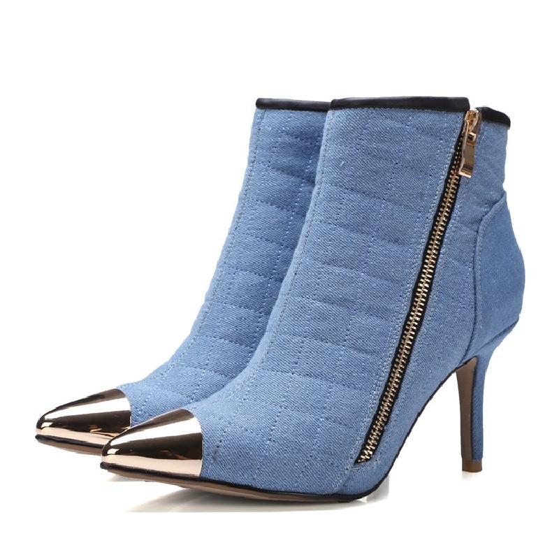 Denim Invernali Il Stivaletti Donne blu Europee Nuove Blu Metallo Di Tacco  Appuntito Stivali 2016 Alto ... ff5e68c170e