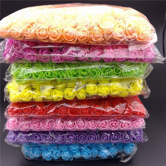 144pcsMulticolor Foam Rose Artificial Flowers Bouquet