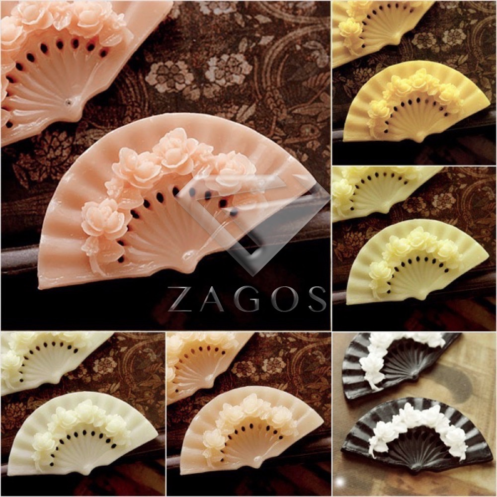 2Pcs Resin Vintage Style Fan Flower Flat Back Cameo Cabochon 57.5x31x9mm For Jewelry Accessories Wholesale RB0610
