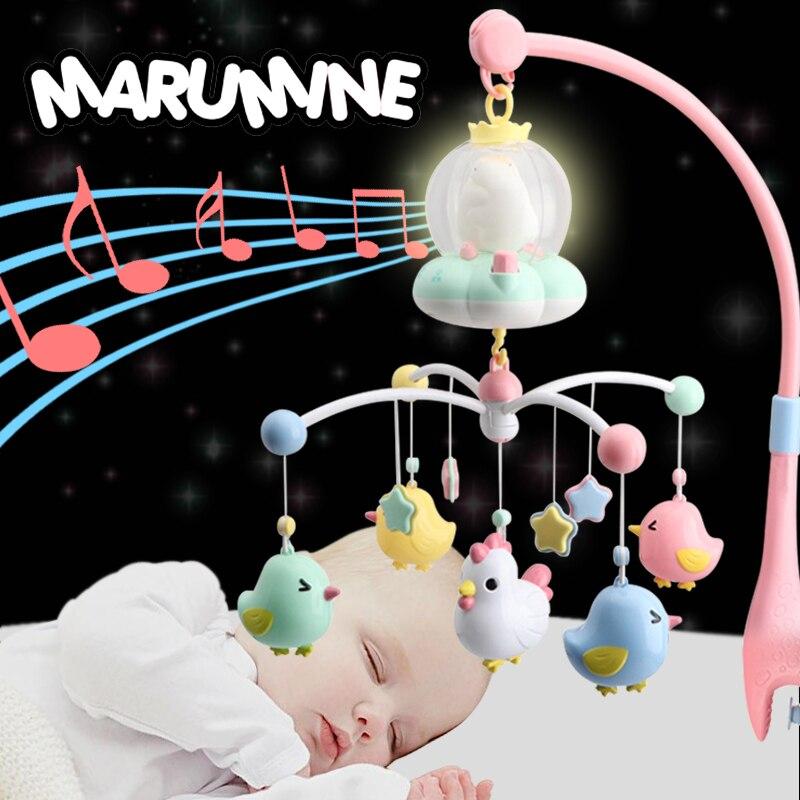 Marumine bébé berceau Mobile jouet avec veilleuse et musique touche boutons lit cloche titulaire hochets pour 0-12 mois nouveau-né garçons filles