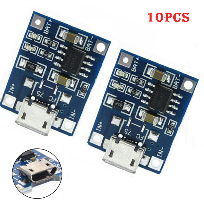 10Pcs 1A 5V TP4056 Lithium Battery Charging Module USB Board Electronic Component Futural Digital jiu1 5pcs 5v 1a micro usb 18650 li ion lithium battery charging protection board charger module tp4056 for arduino