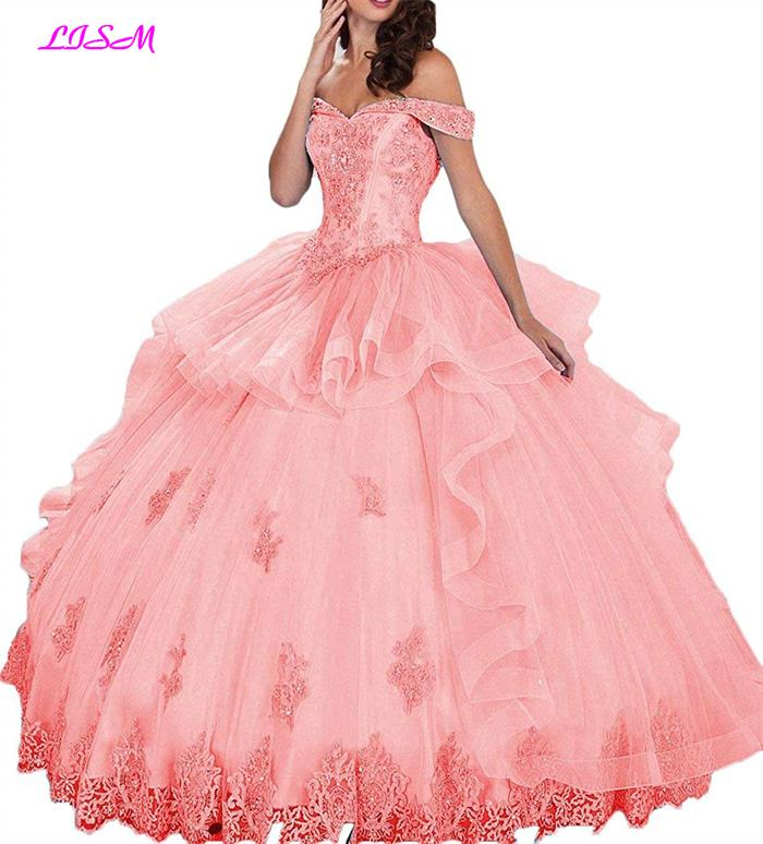 Off Shoulder Quinceanera Dresses Beaded Applique Ball Gowns vestidos de 15 anos Ruched Tiered Organza Prom