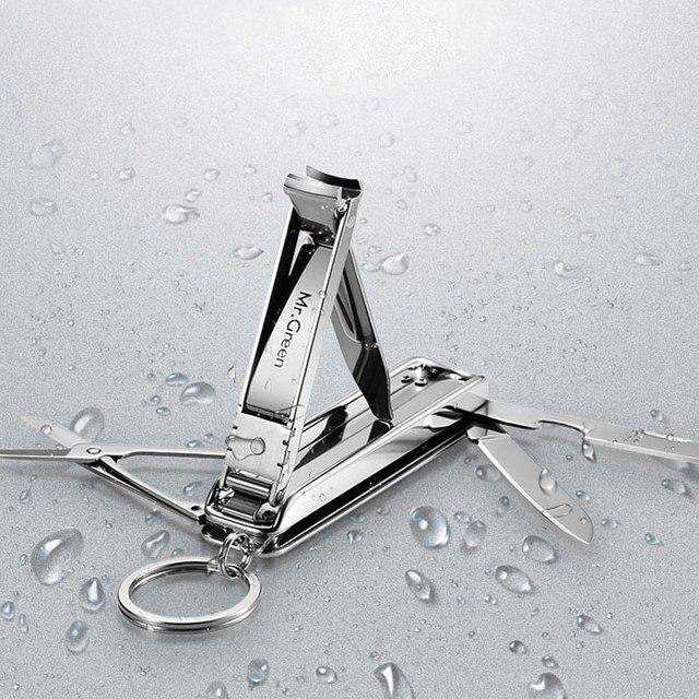 MR.GREEN Multifunctional nail clipper stainless steel belt finger file ring finger scissors belt bottle opener  plier scissorss