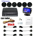 free shipping 9 colors availabe 6 Sensors Buzzer LCD Parking Sensor Kit Display Car Reverse Backup Radar Monitor System