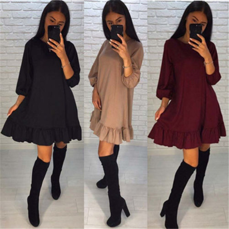 Women Dress 2018 Summer Sexy O Neck Solid Casual Ruffles Dress Boho Style Short Party Beach Dresses Vestidos