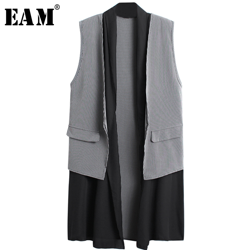 [EAM] 2020 New Spring Summer Cardigan Sleeveless Spliced Pockets Plaid Brief Temperament Long Vest Women Fashion Tide JX797