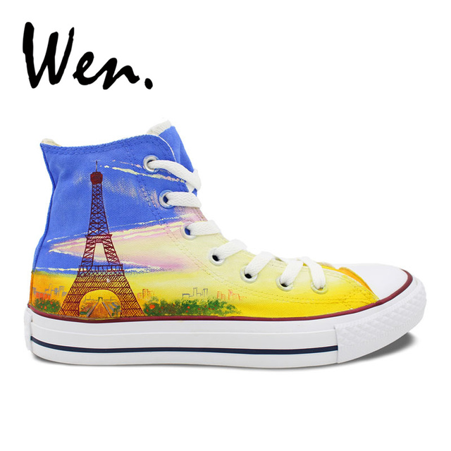 womens Skateboarding Shoes Canvas skateboarding Eiffel Tower Sport Sneaker