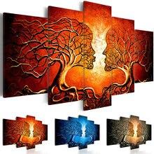 Pintura em tela decoração da casa 5 peças beijo árvore vermelho azul amarelo cor amor fotos impressões abstratas cartaz modular parede arte