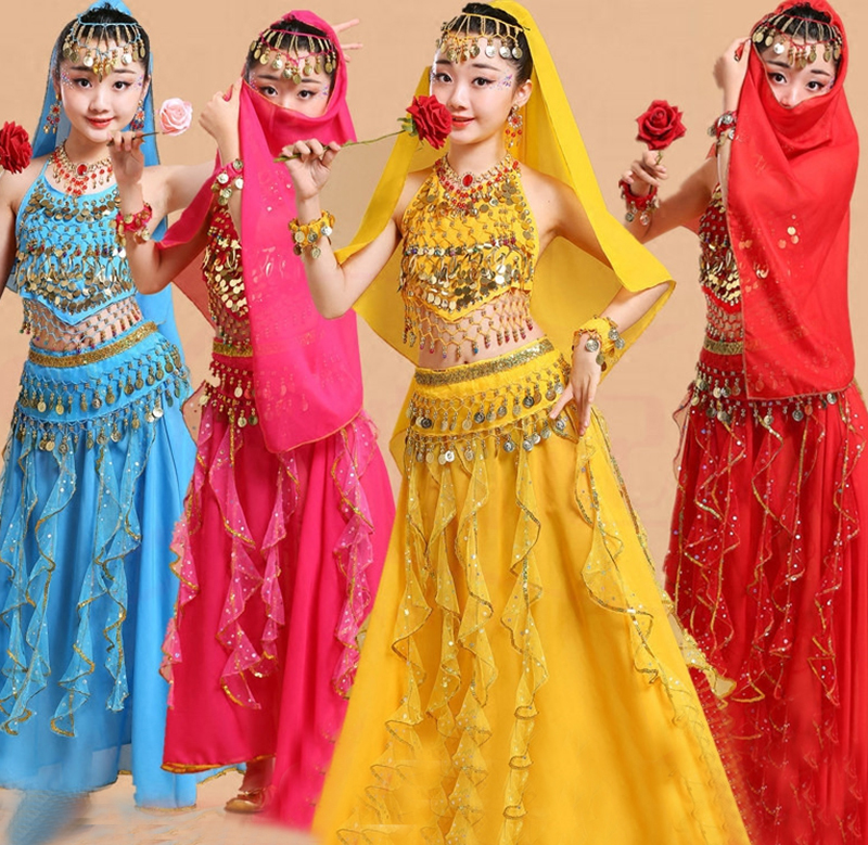 5pcs Kid Belly Dancing Girls Belly Dance Costumes Children Belly Dance Girls Bollywood Indian Performance Dancewear Clothing Set