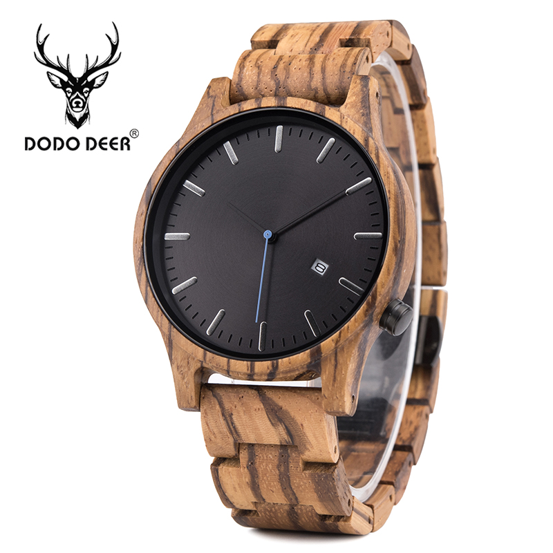 DODO DEER Skeleton Watch Men Business Japan movt Quartz Zebra Wood Watches Wrist Brand Design Fashion reloj hombre with Calendar