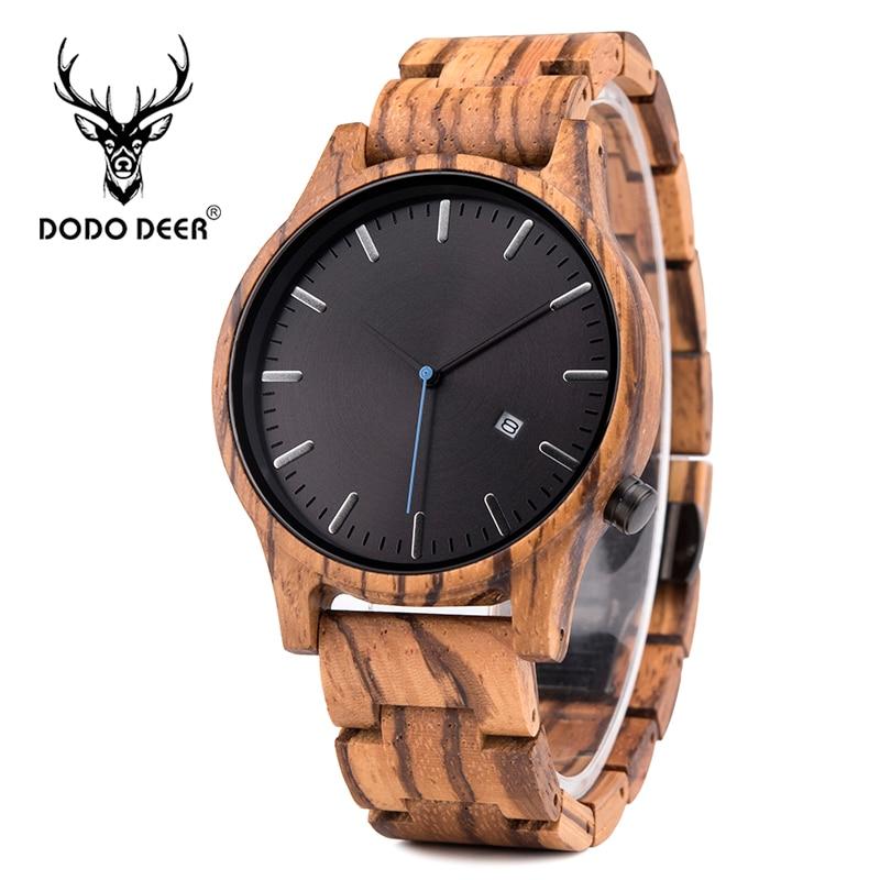 DODO DEER Skeleton Watch Men Japan Movt Quartz Zebra Wood Watches Wrist Brand Design Fashion Reloj Hombre Calendar OEM B09