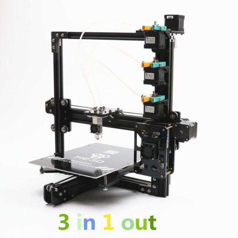 Nouvelle mise à jour HE3D tricolore bricolage 3D kits d'imprimante, 3 dans 1 sur extrudeuse, impression de grande taille 200*280*200mm