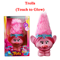 2016 New Movie Trolls Town Poppy Action Figure Toys With Light Touch to Glow Anime Figures Hair Up Christmas Toys For Children
