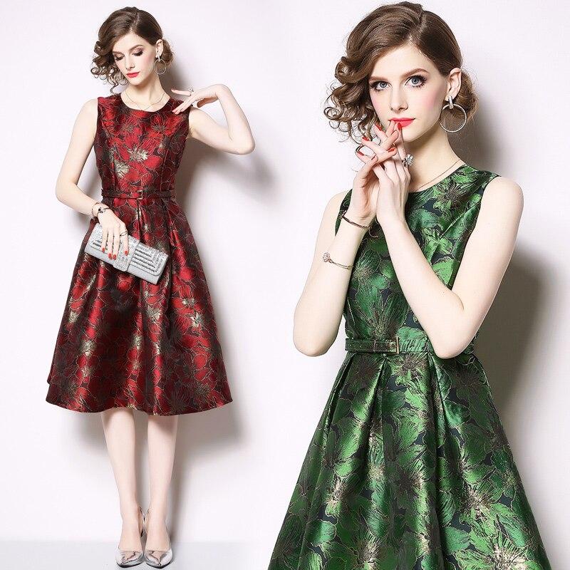 Damska 2019 Vert Manches Dames Midi Robes Imprimer Robe Vintage Parti Sukienka K6222 Femme Chemise rouge Verano Sans D'été 1q8gOxO