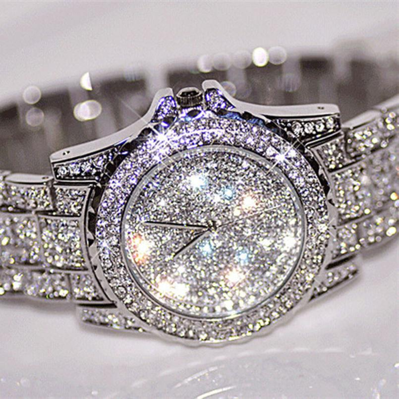 Essential 2016 New Fashion Silver Luxury font b Watches b font Women Rhinestone Ceramic Crystal Quartz